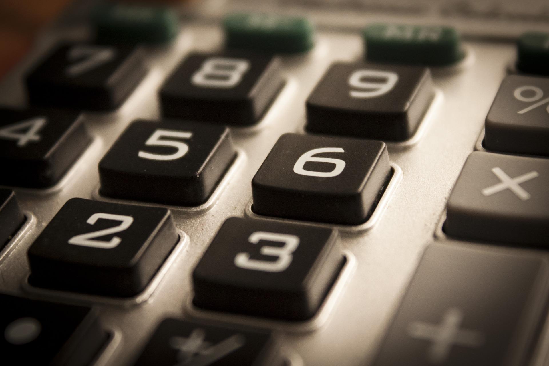Calculator keys close-up