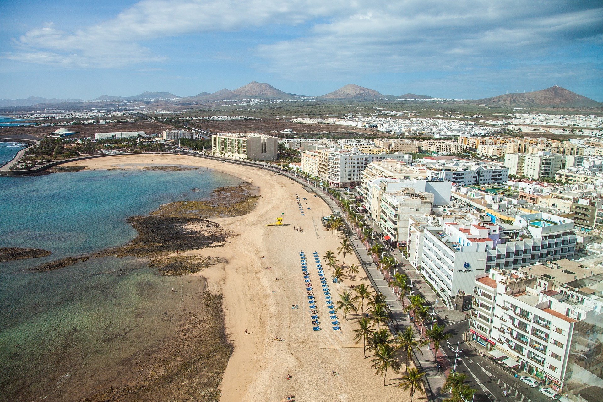 Lanzarote beach and hotels