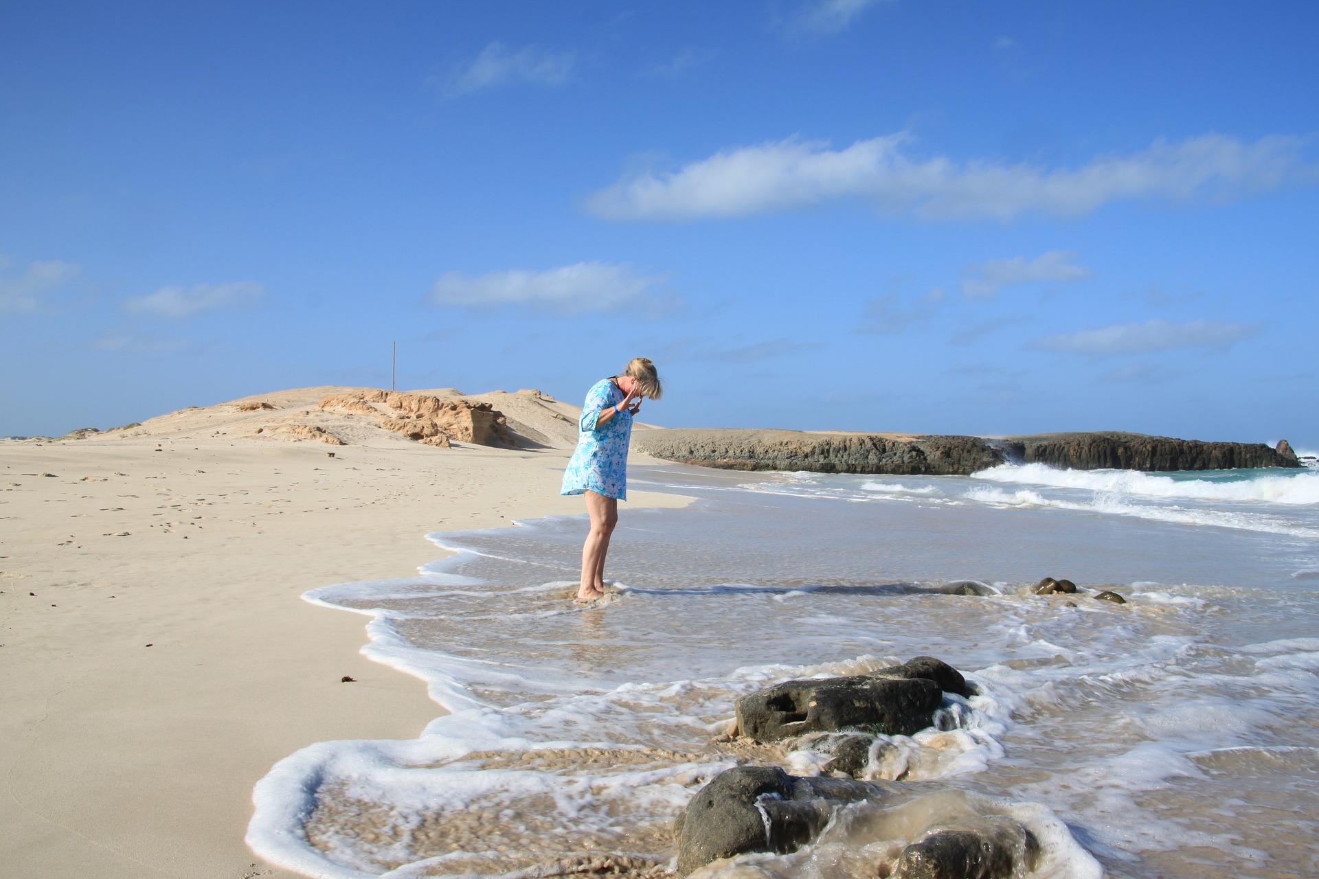 Cape verde woman on beach